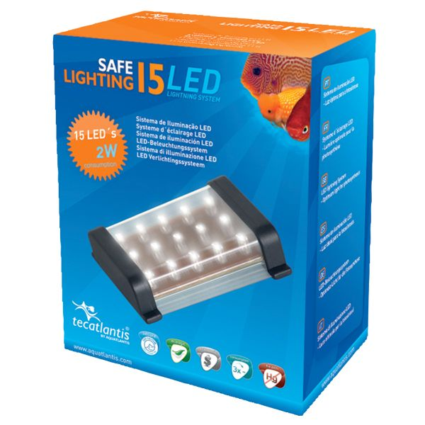AQUATLANTIS Safe Lightning 15 LED Rampe LED pour aquarium d'eau douce - 1,2 Watt