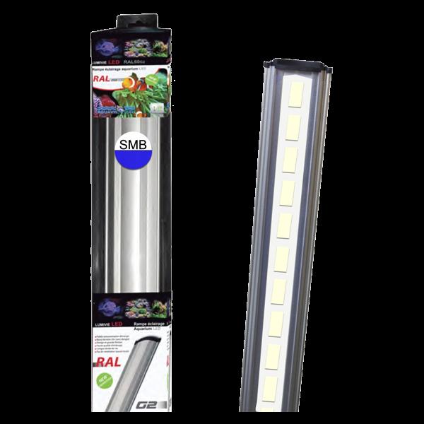 LUMIVIE RAL G2 30 Watts LEDs SBM Blanc/Bleu Rampe Led pour Eau de Mer - 100cm